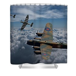 Lancaster Bomber And Spitfires Shower Curtain
