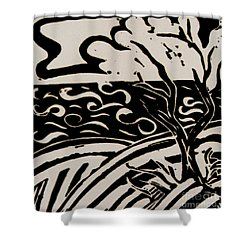 Land Sea Sky In Black And White Shower Curtain by Caroline Street