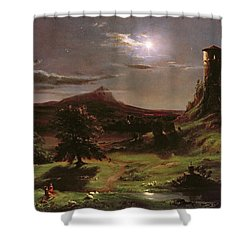 Landscape - Moonlight Shower Curtain by Thomas Cole