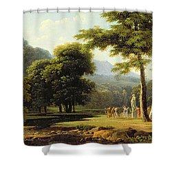Landscape Shower Curtain by Jean Victor Bertin