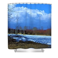 Landscape  Snow Scene Shower Curtain by Johanna Bruwer