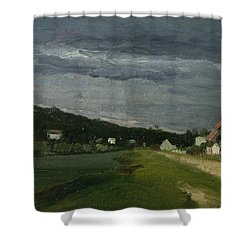 Landscape With Stormy Sky Shower Curtain by Camille Pissarro