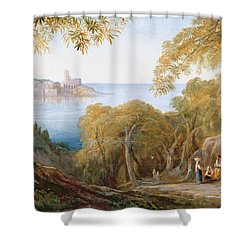 Landscape With View Of Lerici Shower Curtain by Edward Lear
