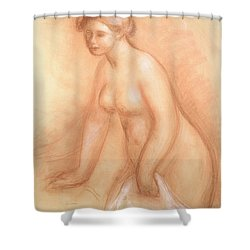 Large Bather Shower Curtain by Pierre Auguste Renoir