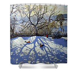 Large Tree And Tobogganers Shower Curtain by Andrew Macara