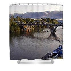 Last Light On Caveman Bridge Shower Curtain by Mick Anderson