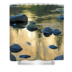 Late Afternoon Reflections In Merced River In Yosemite Valley Shower Curtain by Greg Matchick