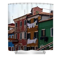 Laundry Day In Burano Shower Curtain by Carla Parris