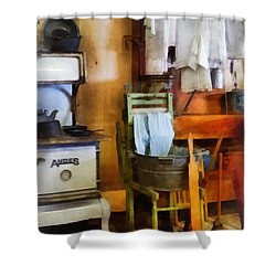 Laundry Drying In Kitchen Shower Curtain by Susan Savad