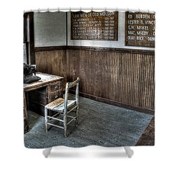 Law Man's Office - Molson Ghost Town Shower Curtain by Daniel Hagerman