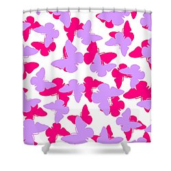 Layered Butterflies  Shower Curtain by Louisa Knight