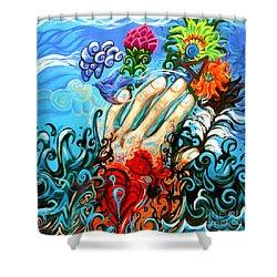 Le Destin Du Humain Grande Shower Curtain by Genevieve Esson