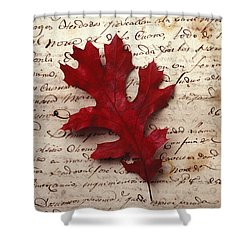 Leaf On Letter Shower Curtain by Garry Gay
