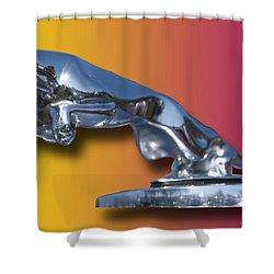 Leaping Jaguar Mascot Shower Curtain by Jack Pumphrey