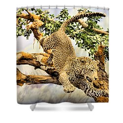 Leaping Leopard Shower Curtain by Kristin Elmquist