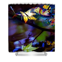 Leaves And Reflections Shower Curtain by Judi Bagwell