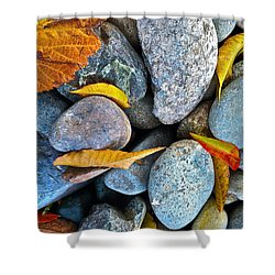 Leaves And Rocks Shower Curtain by Bill Owen