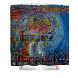Leaving Home Commuting To Work And Returning Home Shower Curtain