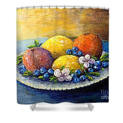Lemons And Blueberries Shower Curtain by Lou Ann Bagnall