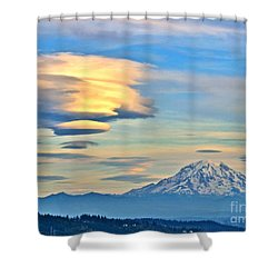 Lenticular Cloud And Mount Rainier Shower Curtain by Sean Griffin