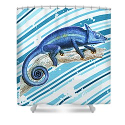 Leo Loves Lizards Shower Curtain by Nikki Marie Smith