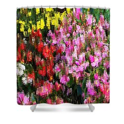 Shower Curtain featuring the mixed media Les Fleurs by Terence Morrissey