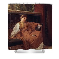 Lesbia Weeping Over A Sparrow Shower Curtain by Sir Lawrence Alma-Tadema