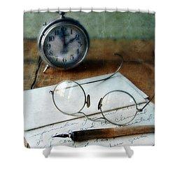 Letter Pen Glasses And Clock Shower Curtain by Jill Battaglia