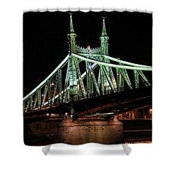 Liberty Bridge At Night Shower Curtain by Mariola Bitner