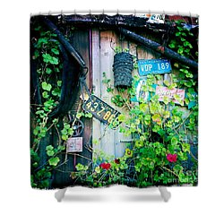 Shower Curtain featuring the photograph License Plate Wall by Nina Prommer