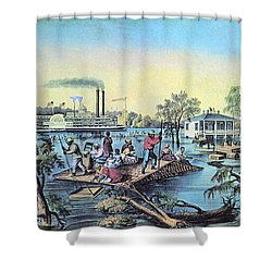 Life On The Mississippi, 1868 Shower Curtain by Photo Researchers