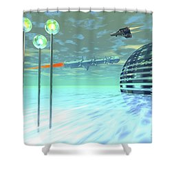 Life Under Domes On An Alien Waterworld Shower Curtain by Corey Ford