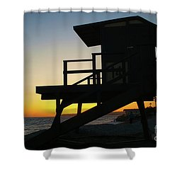Lifeguard Silhouette Shower Curtain by Mariola Bitner