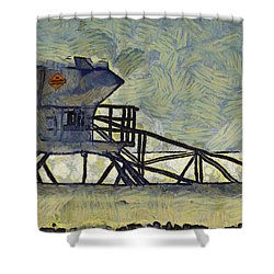 Lifeguard Station 17 Shower Curtain by Ernie Echols