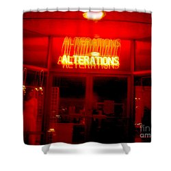 Life's Little Alteration Shower Curtain by Peter Piatt
