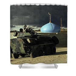 Light Armored Vehicle Commander Mans Shower Curtain by Stocktrek Images
