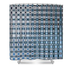 Light Blue And Gray Abstract Shower Curtain by Carol Groenen