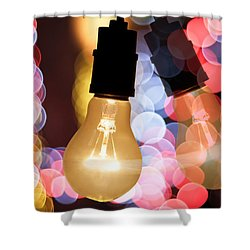 Light Bulb And Bokeh Shower Curtain by Setsiri Silapasuwanchai