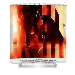 Light Shine. Christian Art Poster Shower Curtain by Mark Lawrence