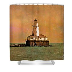 Lighthouse Off Navy Pier Shower Curtain by Mary Machare