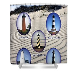 Shower Curtain featuring the photograph Lighthouses Of The Outer Banks by Tony Cooper