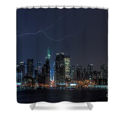 Lightning Over New York City Ix Shower Curtain by Clarence Holmes