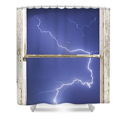 Lightning Strike White Barn Picture Window Frame Photo Art  Shower Curtain by James BO  Insogna