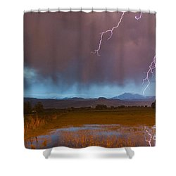 Lightning Striking Longs Peak Foothills 5 Shower Curtain by James BO  Insogna