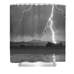 Lightning Striking Longs Peak Foothills 5bw Crop Shower Curtain by James BO  Insogna