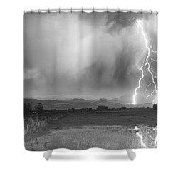 Lightning Striking Longs Peak Foothills 6bw Shower Curtain by James BO  Insogna