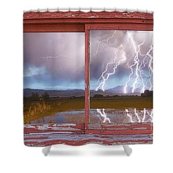 Lightning Striking Longs Peak Red Rustic Picture Window Frame Shower Curtain by James BO  Insogna