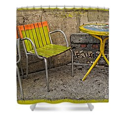 Lime Chairs Shower Curtain by Joan  Minchak