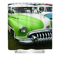 Shower Curtain featuring the photograph Lime Green 1950s Buick by Kym Backland