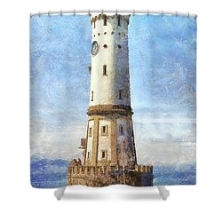 Lindau Lighthouse In Germany Shower Curtain by Nikki Marie Smith